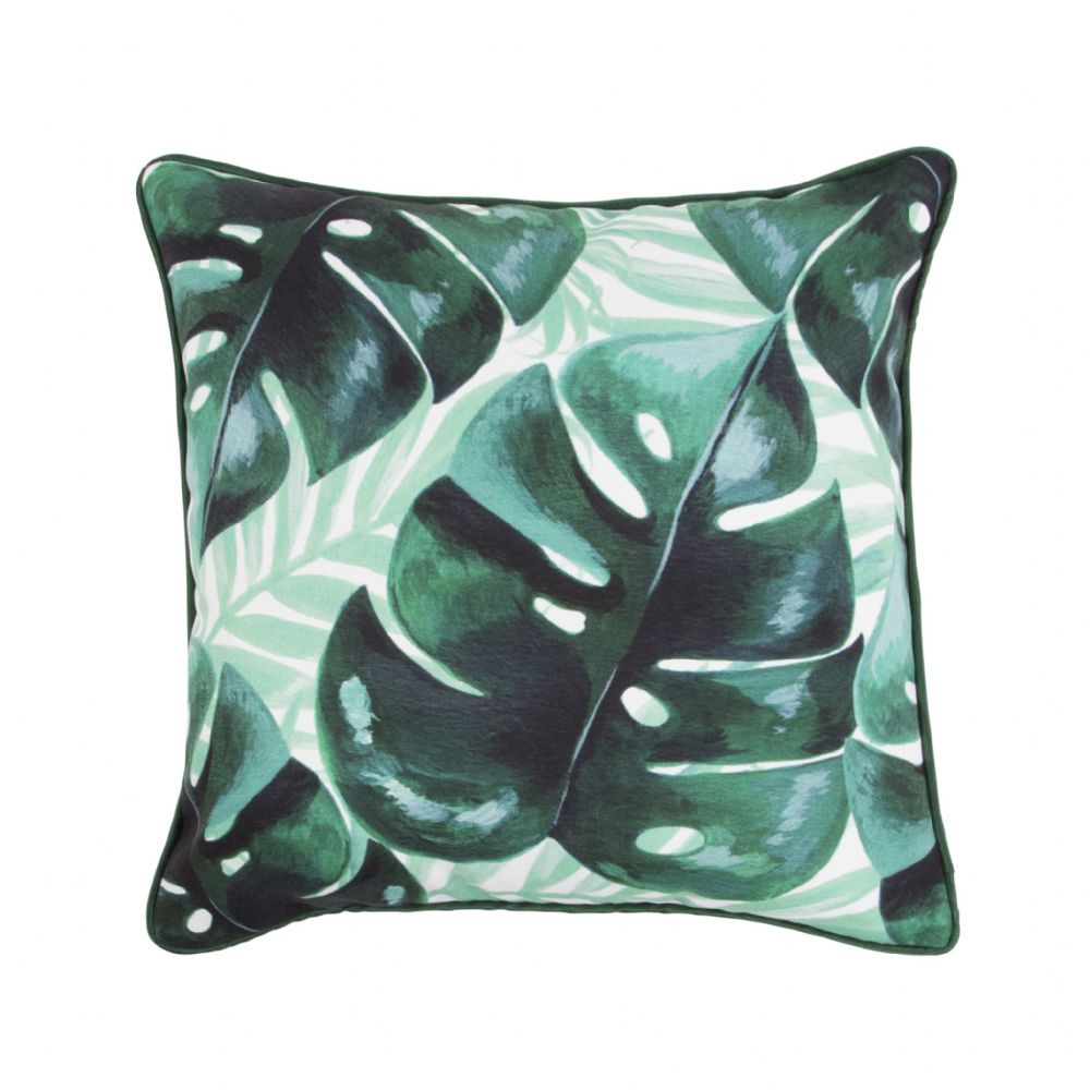 Green Botanical Jungle Cushion Tropical Monstera Leaf Pattern Cushion